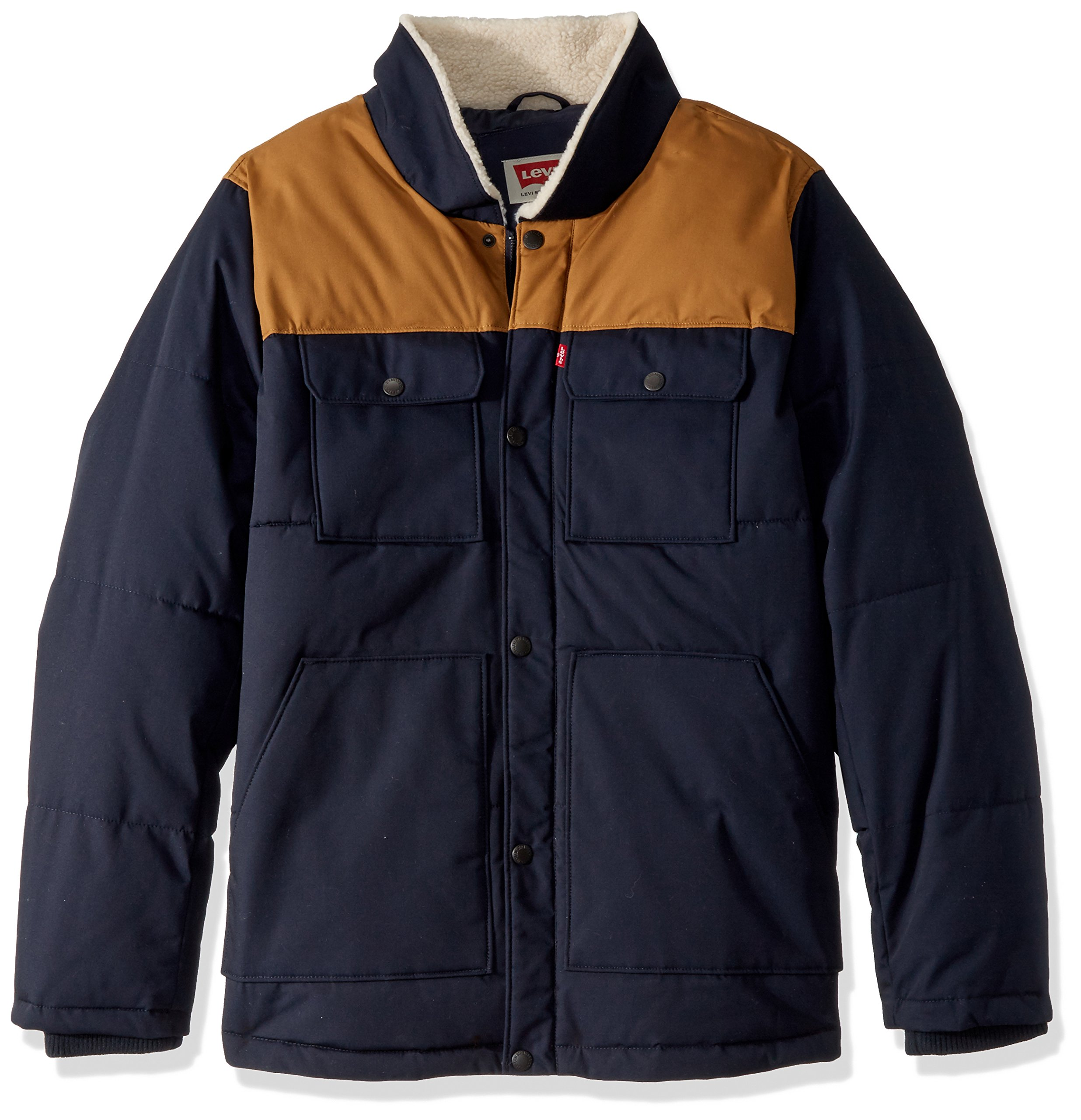 Levi's Men's Big and Tall Mixed Media Quilted Sherpa Shirt Jacket, Navy, 2X