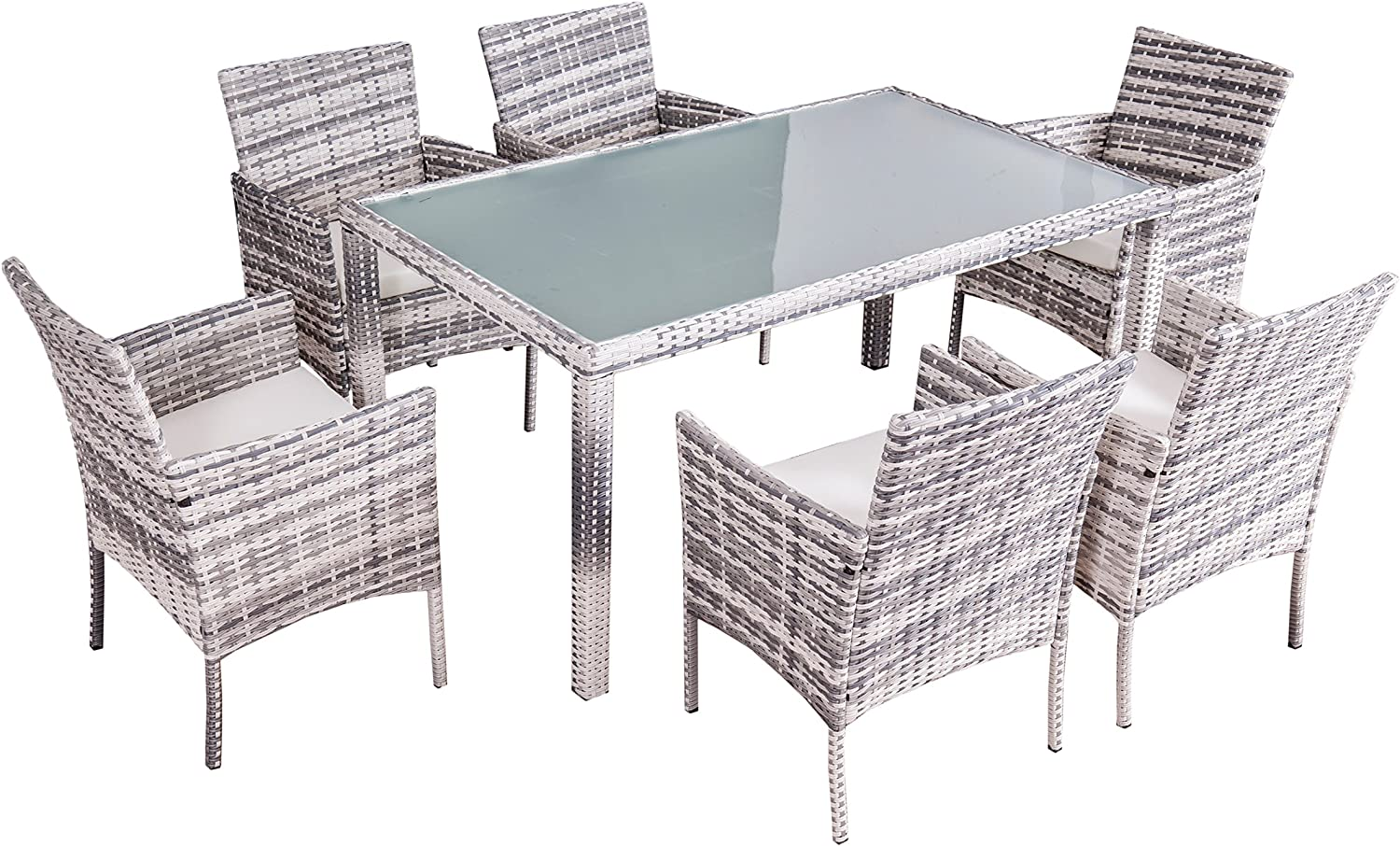 Garden Furniture Dining Set Mexico Jet Line High Quality Rundrattan Grey Rattan Table Top Safety Glass 6 Chairs Table 1 5 M Amazon De Garten