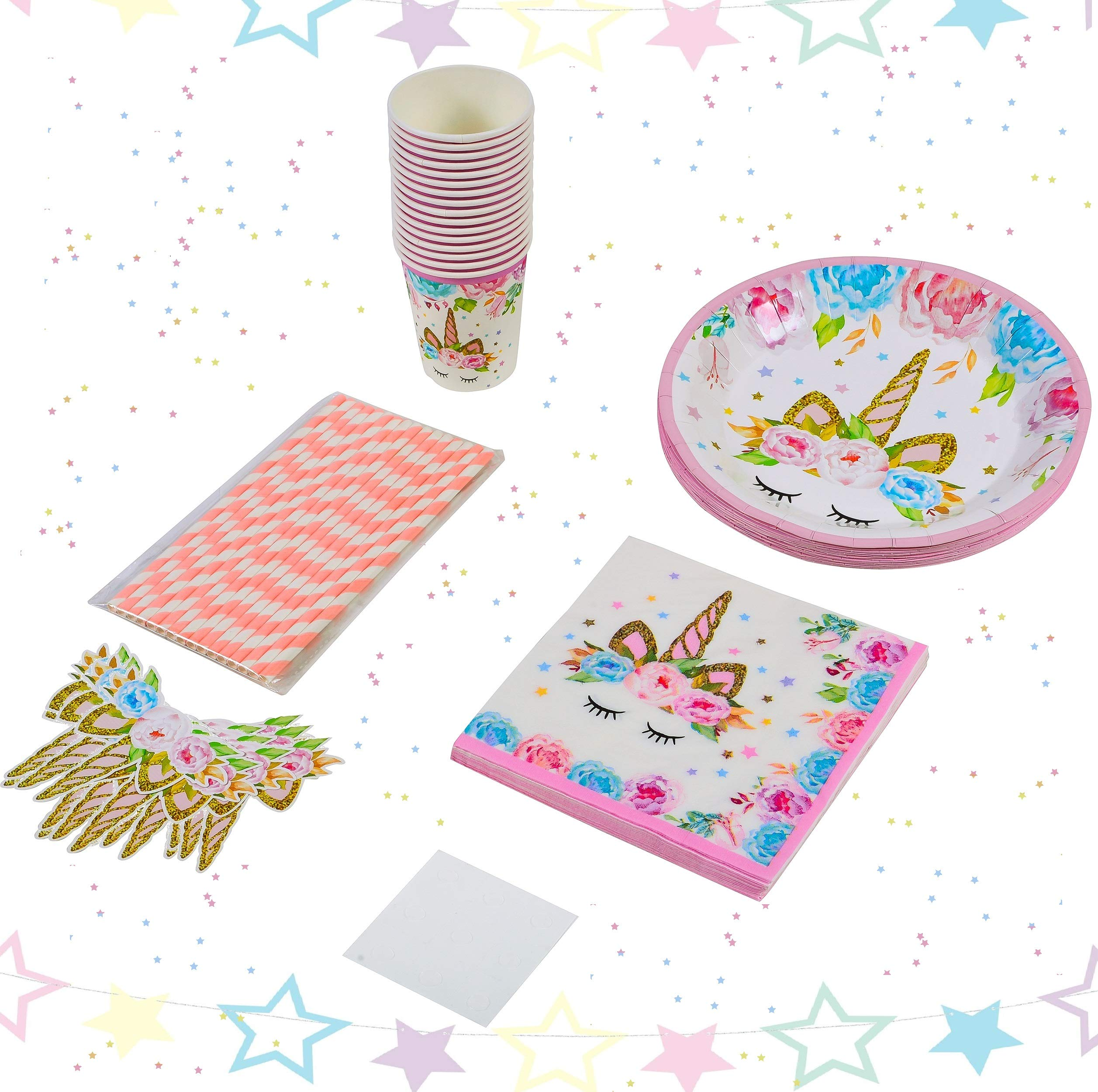 Unicorn Party Supplies Set 16 Kids Magic Birthday | 80 Pack Pieces Plates 350GSM Napkins Cups Straws Straw Decorations | Perfect First Girls Boys Children Favors Disposable Eco Paper Tableware
