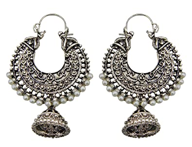 Amazon Com Jwellmart Bollywood Tribal Indian Oxidized Silver Jhumka
