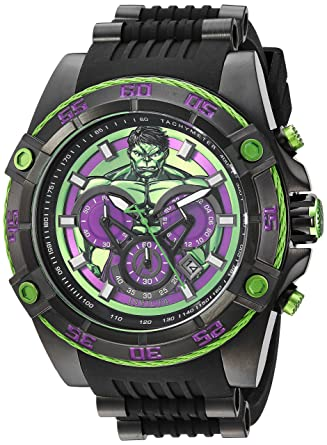 Invicta Mens Marvel Quartz Stainless Steel and Silicone Watch, Color:Black (