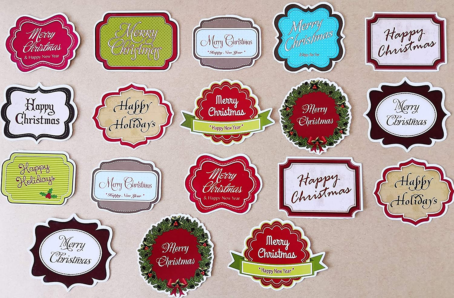 Dovecraft Red//Gold Basic Sentiment Toppers-Happy Christmas for cards /& crafts