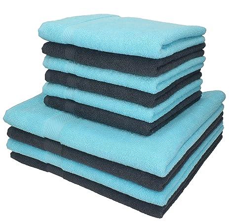 10 piezas set toallas de mano/ducha serie Palermo color gris y turquesa 100%