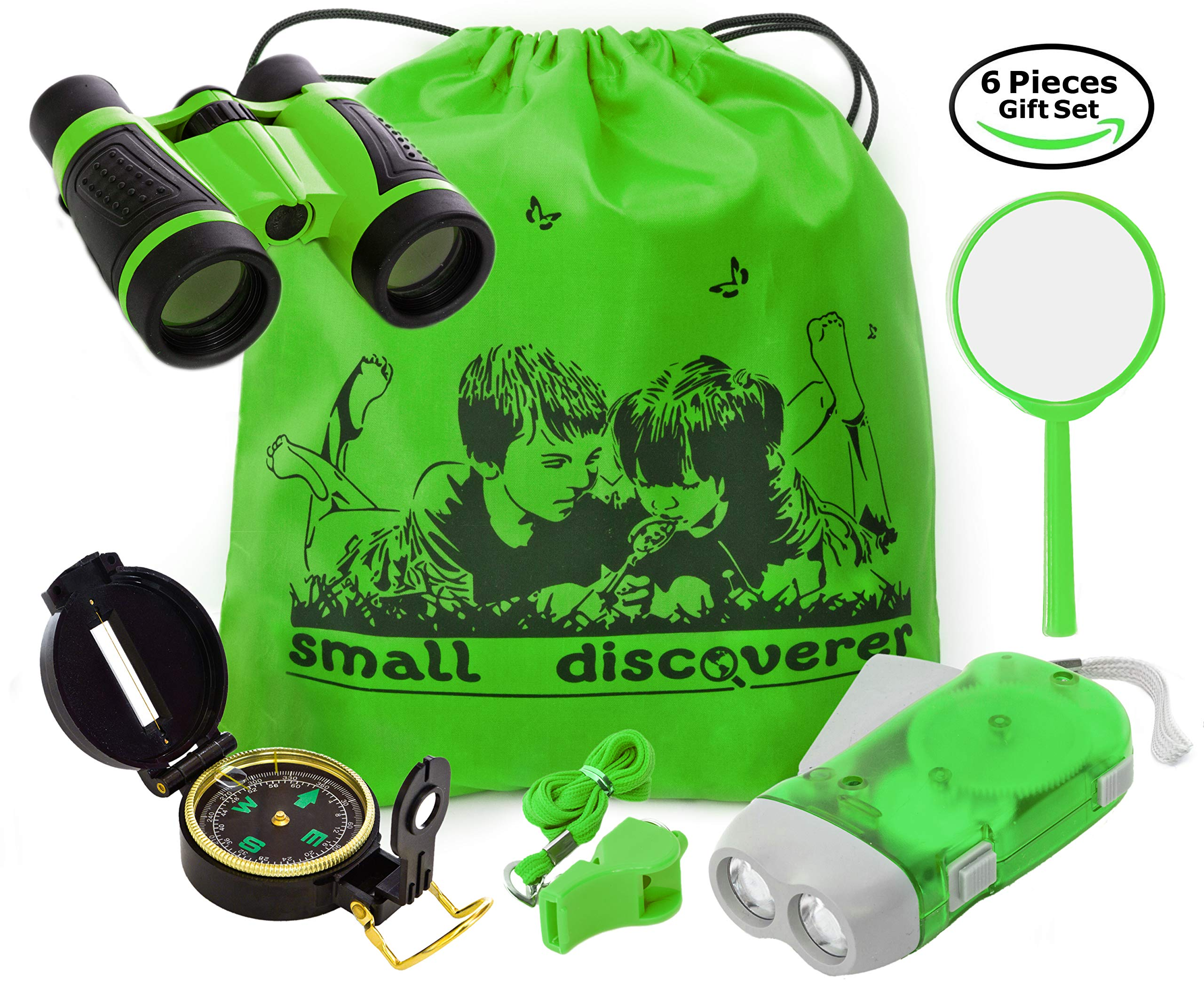 Kid Explorer Kit Binocular Flashlight Compass Magnifying Glass Whistle Backpack Play Kid Camping Gear Educational Toys Adventure Hiking Bird Watching Gift for 3-12 Year Old Boys and Girls (Green) by Small Discoverer