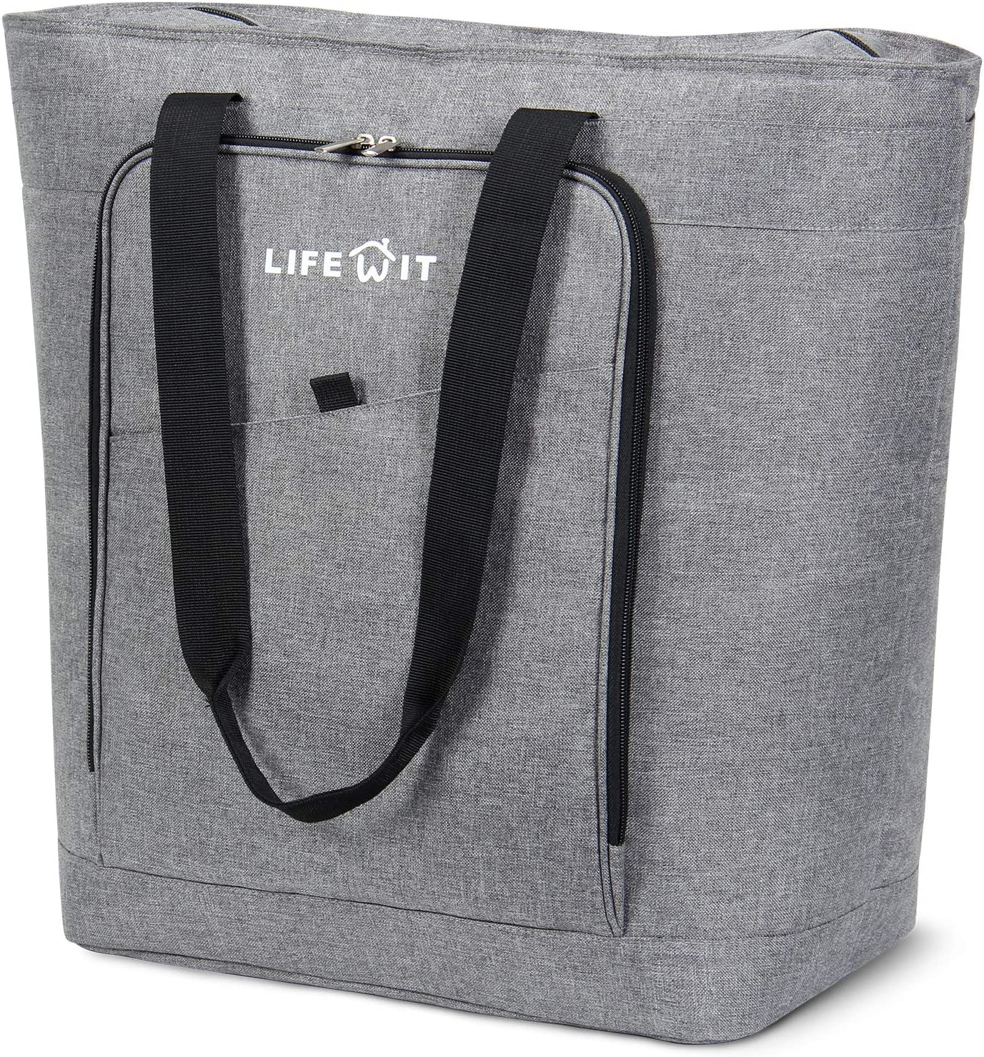 Grey Lifewit Jumbo Reusable Grocery Shopping Bags Foldable Tote Insulated Bag Transport Hot and Cold Food