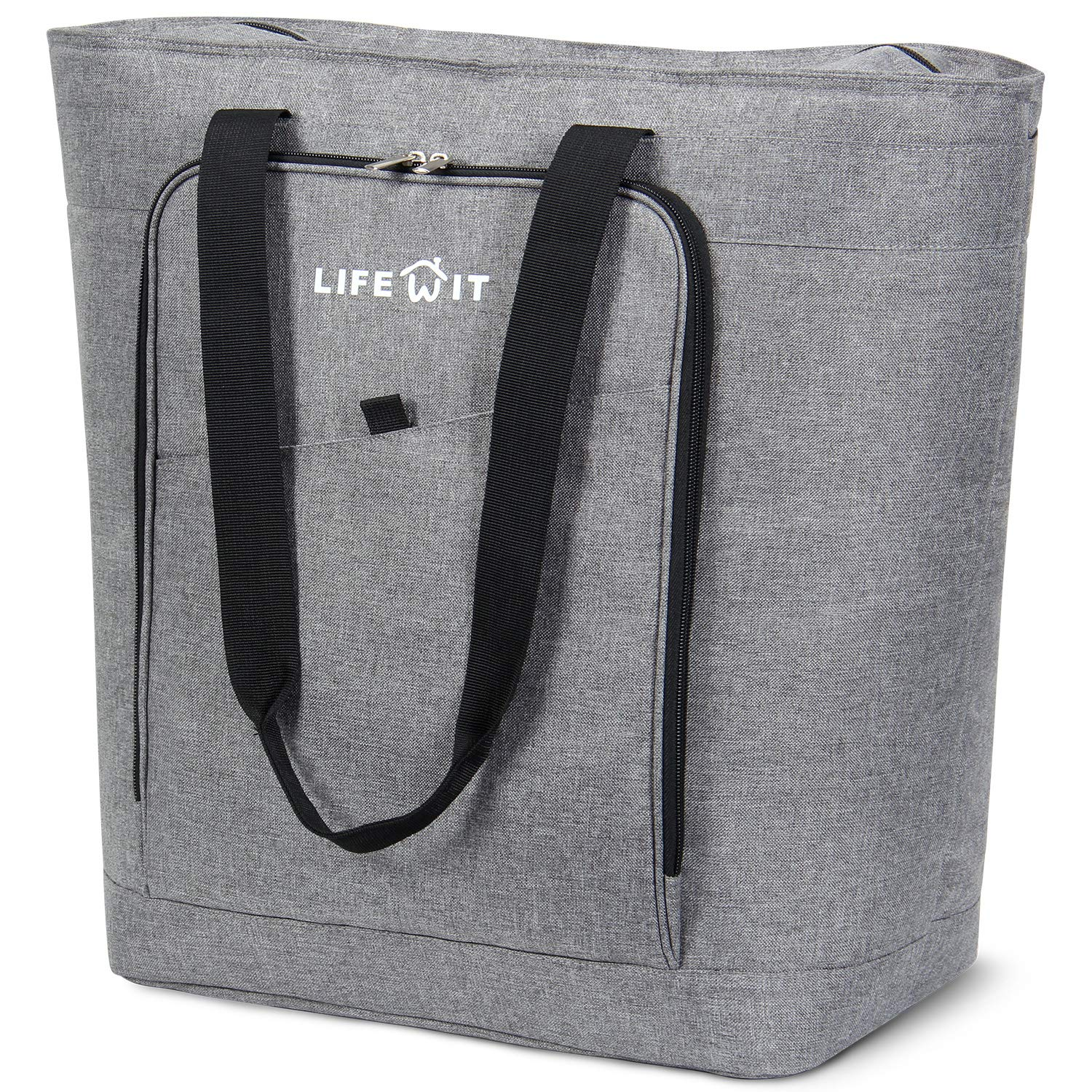 Lifewit Jumbo Reusable Grocery Shopping Bags 45L Foldable Tote Insulated Bag, Transport Hot and Cold Food, Grey