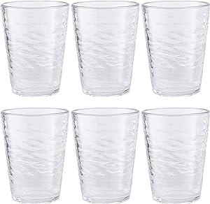 Premium Acrylic Drinking Glass, Set of 6, 16.6 oz, BPA-Free, Clear
