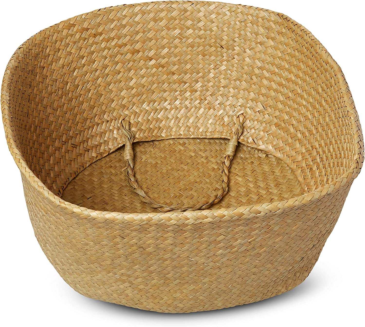 Organic Seagrass Basket - Home/Kitchen/Storage/Laundry/Organizer/Beach/Decor/Baskets - Hand Woven Plant basket - Toy Cover - Beach Bag - Toy Storage - Laundry Basket - Picnic Tote - with Strong Handle