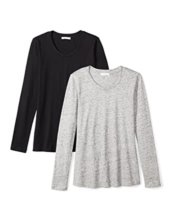 52d95a93fe Amazon Brand - Daily Ritual Women's Lightweight 100% Supima Cotton Long- Sleeve Crew Neck