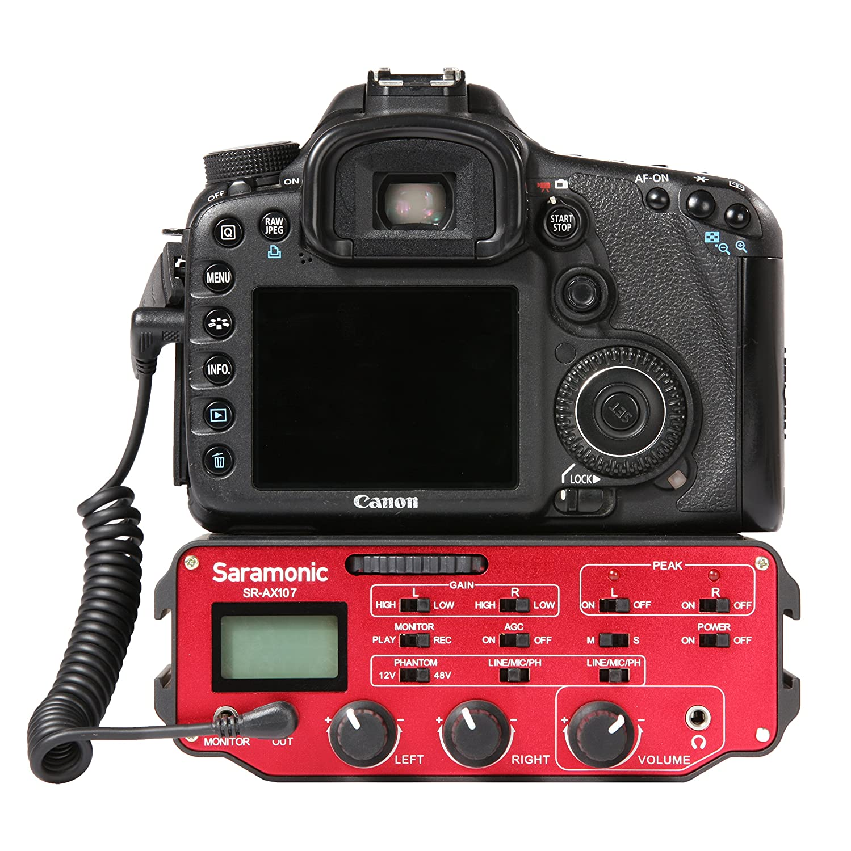 alimentaci/ón Fantasma y Transformador de Aislamiento para c/ámaras r/éflex Digitales y videoc/ámaras Saramonic SR-AX107 Dos-Canal-XLR-Audio-Adaptador de preamplificador