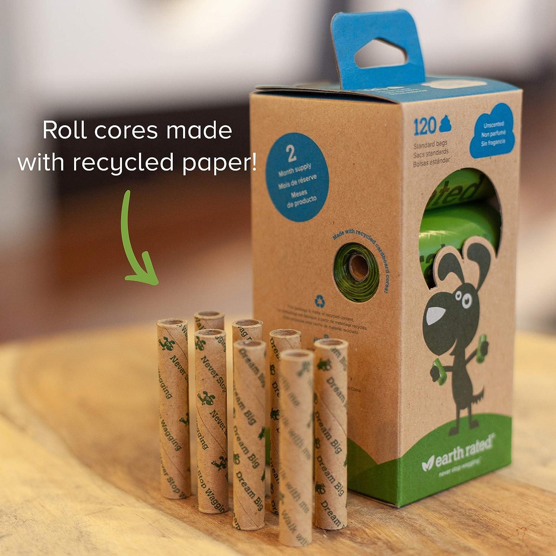 Earth Rated - Pack de bolsas para recoger excrementos de perro, Sin Olor , 8 Rollos (120 unidades)