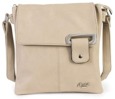 1aed795489e0 Mabel Womens Messenger Cross-Body Shoulder Bag With Silver Trim - Medium  Size Handbag - Included a Branded Protective Storage Bag - FAITH