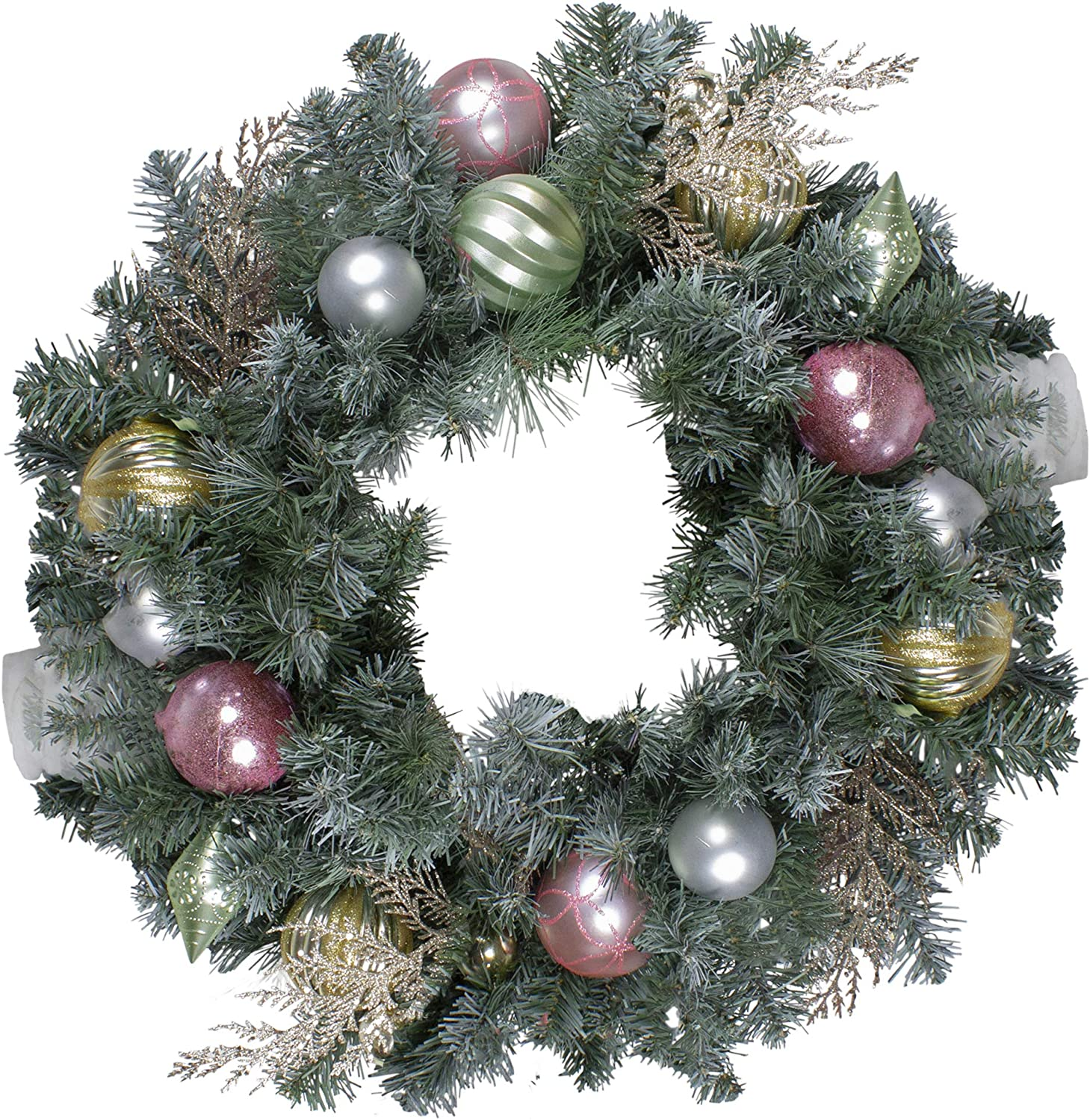 Amazon Com Northlight 24 Unlit Pre Decorated Pink And Gold Ornaments Frosted Artificial Christmas Wreath Green Northlight S27698 Home Kitchen