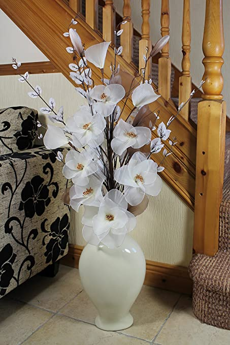 Image Unavailable & Tall Floor Vase for Living Room or Hall with Cream Artifical Flower ...