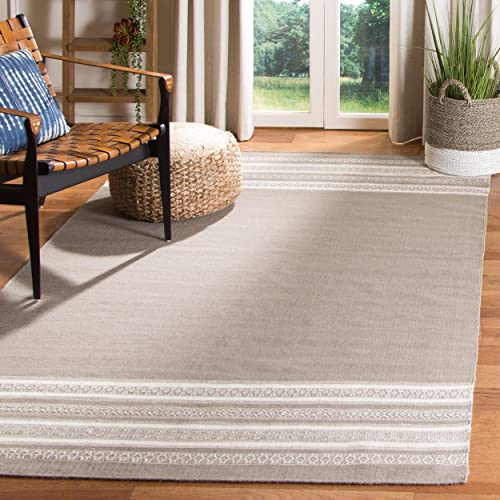 Safavieh Dhurries Collection DHU601A Hand Woven Light Brown Premium Wool Area Rug 6 x 9