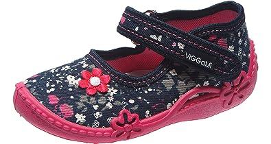 VIGGAMI Girls Slippers With Buckle Alice(Darkblue/Flowers, EU 18 = UK 2