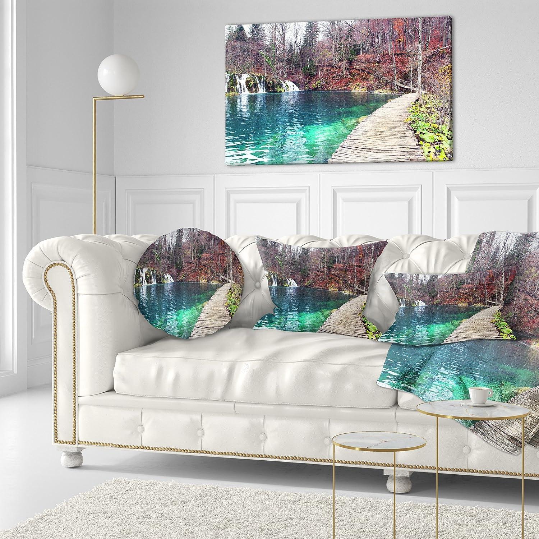 Sofa Throw Pillow 20 Designart CU9062-20-20-C Plitvice Lakes National Lark Landscape Photography Round Cushion Cover for Living Room