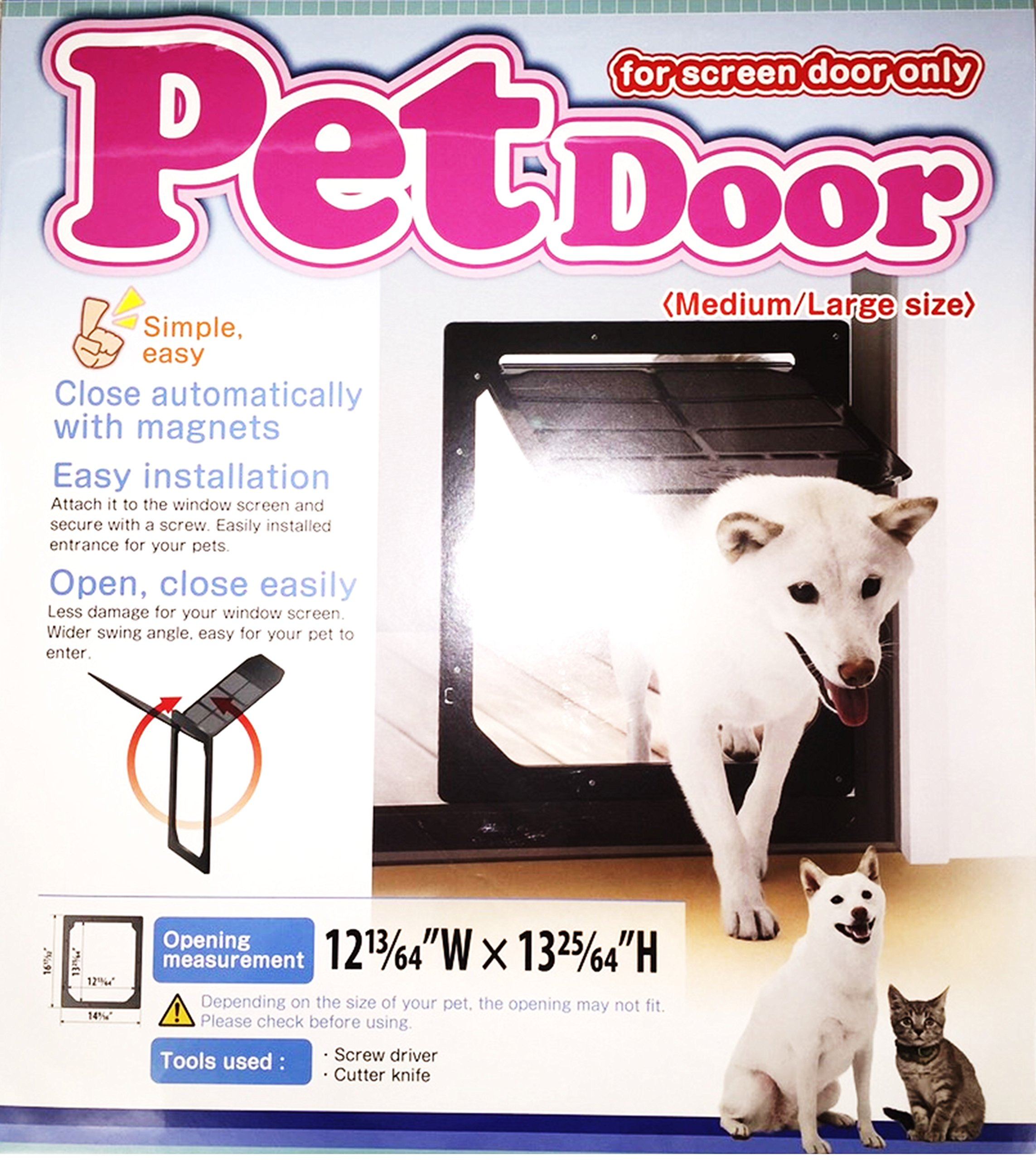 TAKARA INDUSTRY Pet Dog Door for Screens, Medium/Large