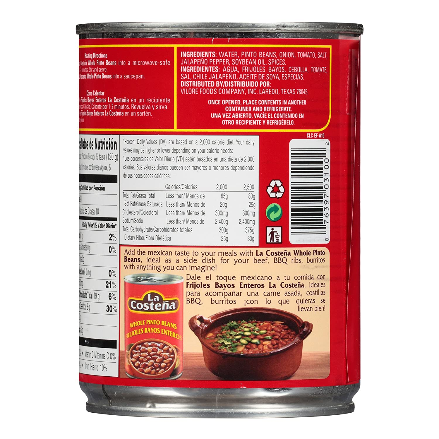 Amazon.com : La Costena Whole Pinto Beans, 19.75 oz (3) : Grocery & Gourmet Food