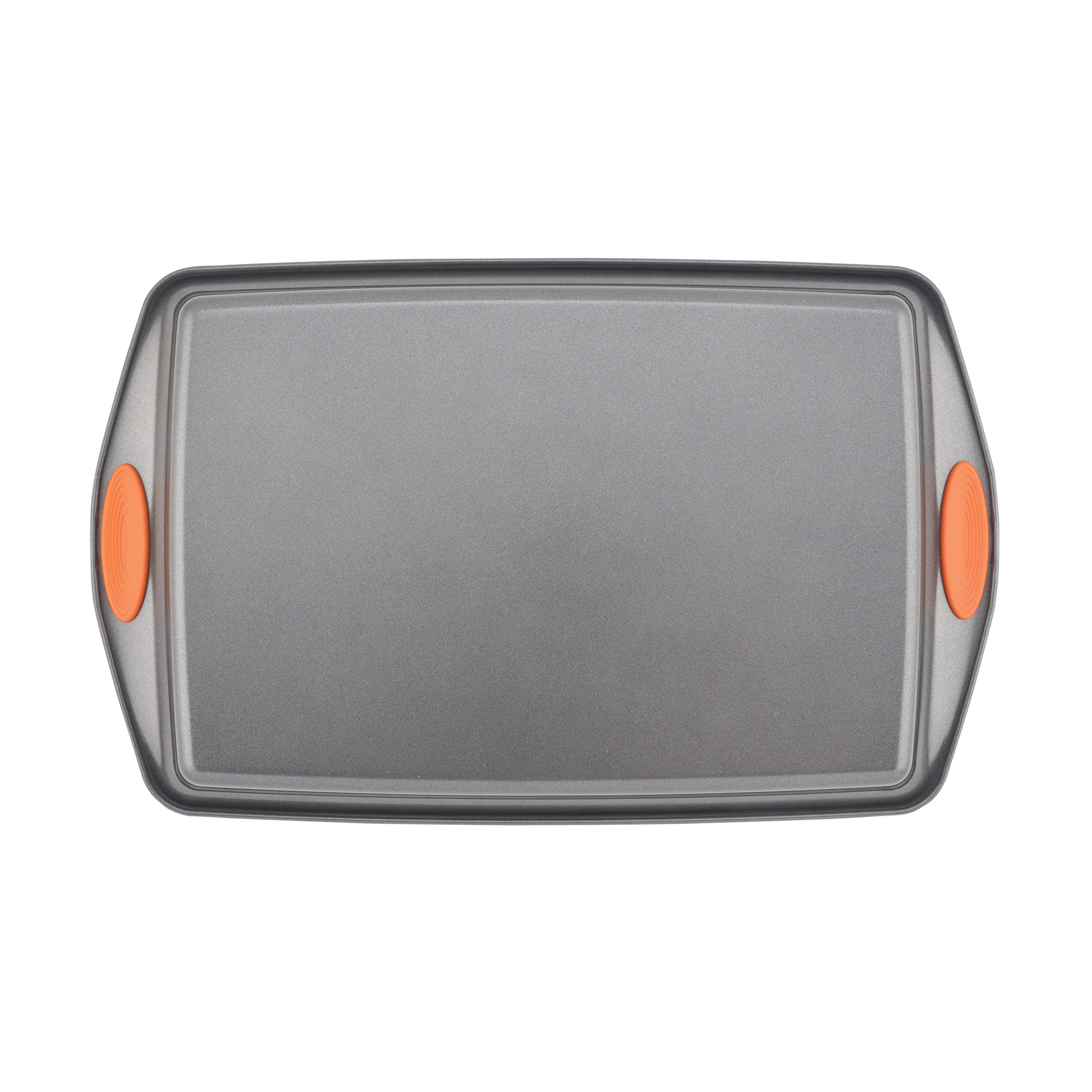 Rachael Ray Yum-o! Nonstick Bakeware 3-Piece Oven Lovin' Cookie Pan Set, Gray with Orange Silicone Grips by Rachael Ray (Image #6)