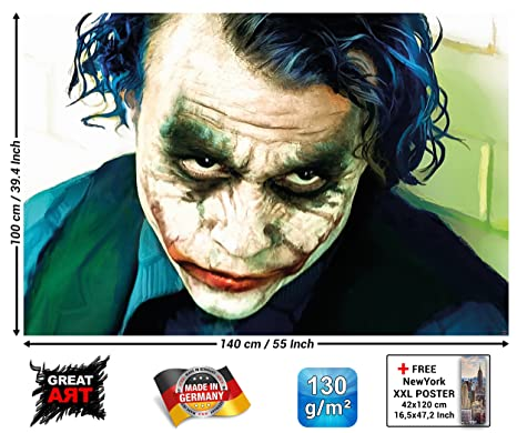 Poster Joker Mural Decoration Heath Ledger Batman The Dark Knight Clowns Movie Gotham Villain Dc Comic Dc Universe Wallposter Photoposter 55 Inch