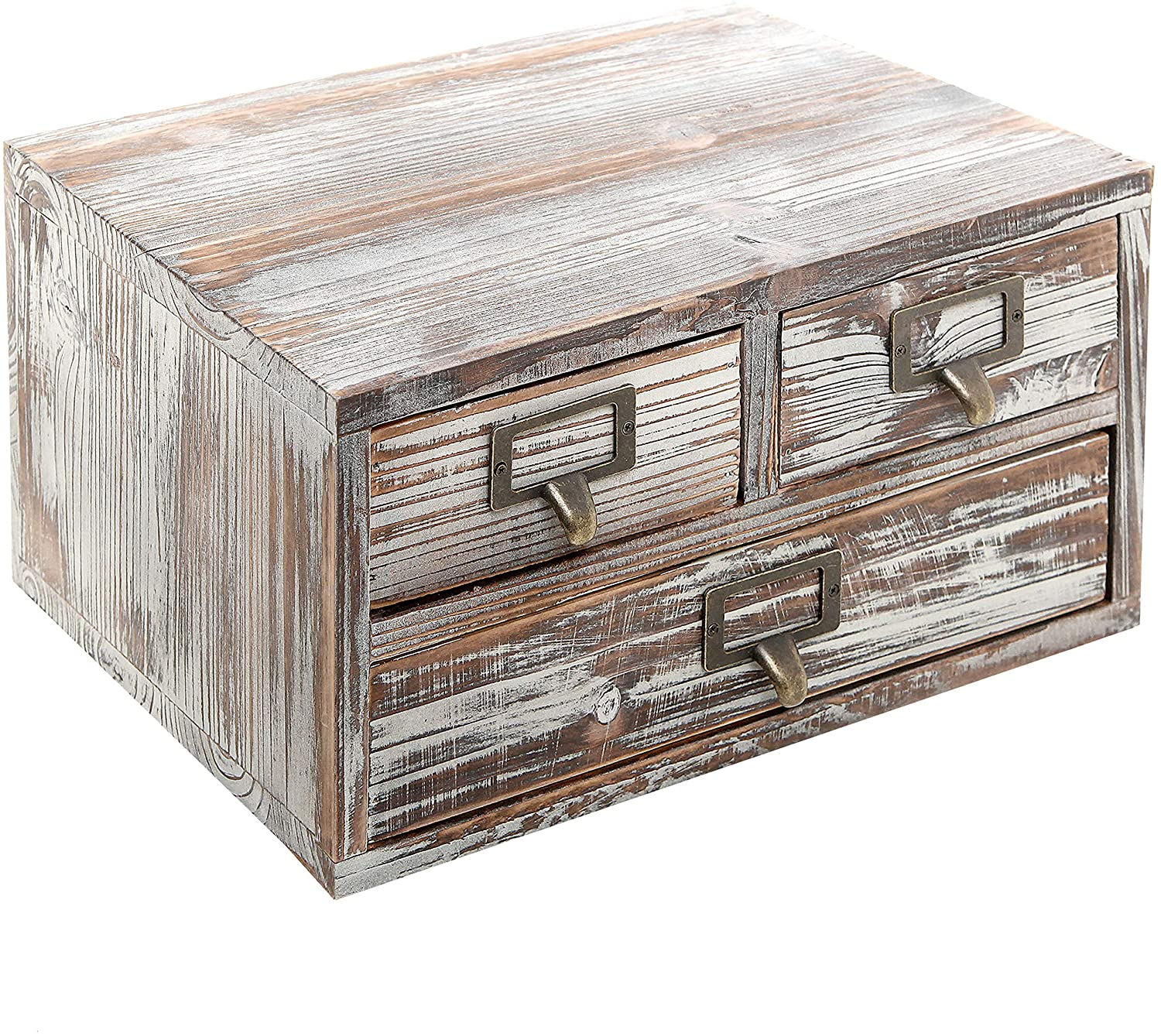 MyGift Rustic Torched Finish Wood Office Storage Cabinet/Jewelry Organizer w/ 3 Drawers, Ash Brown