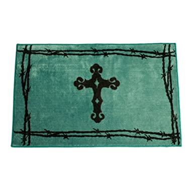 HiEnd Accents Western Cross Print Rug, 24 by 36-Inch, Turquoise