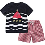 Fiream Baby Boys Cotton Sets Shortsleeve Summer Clothing t-Shirts and Shorts 2 Pieces Sets