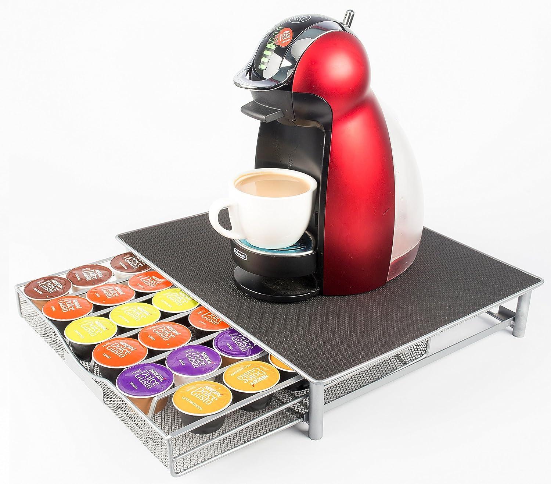 Cajón soporte para guardar cápsulas de café Dolce Gusto, capacidad para 36 cápsulas, de malla de acero inoxidable, bandeja deslizante, con soporte antivibración, superficie antideslizante, facilita la selección, ideal para guardar Latte,