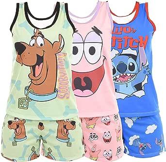 Kit com 3 Pijamas Ayron Sortidos Curto Feminino Personagens