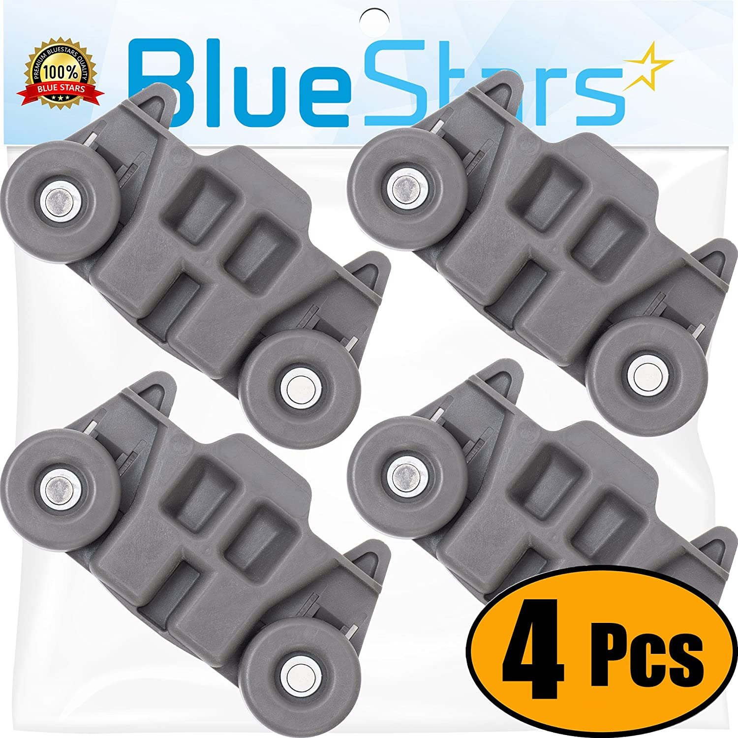 [UPGRADED] Ultra Durable W10195416 Lower Dishwasher Wheel Replacement by Blue Stars - Exact Fit for Whirlpool Kenmore Dishwasher- PACK OF 4 - Enhanced Durability with Steel Screws