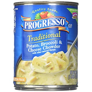 Progresso Traditional Soup, Potato, Broccoli and Cheese Chowder, 18.5-Ounce Cans (Pack of 12)