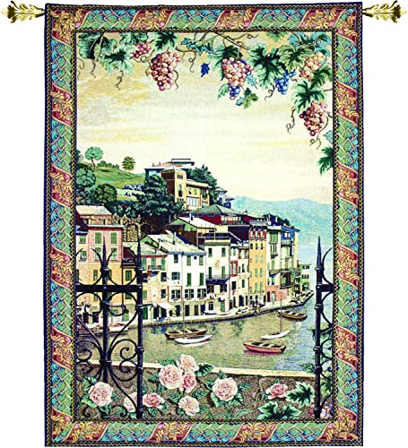 Manual Woodworkers Weavers Grande Tapestry Wall Hanging, Portofino, 56 x 80-Inch