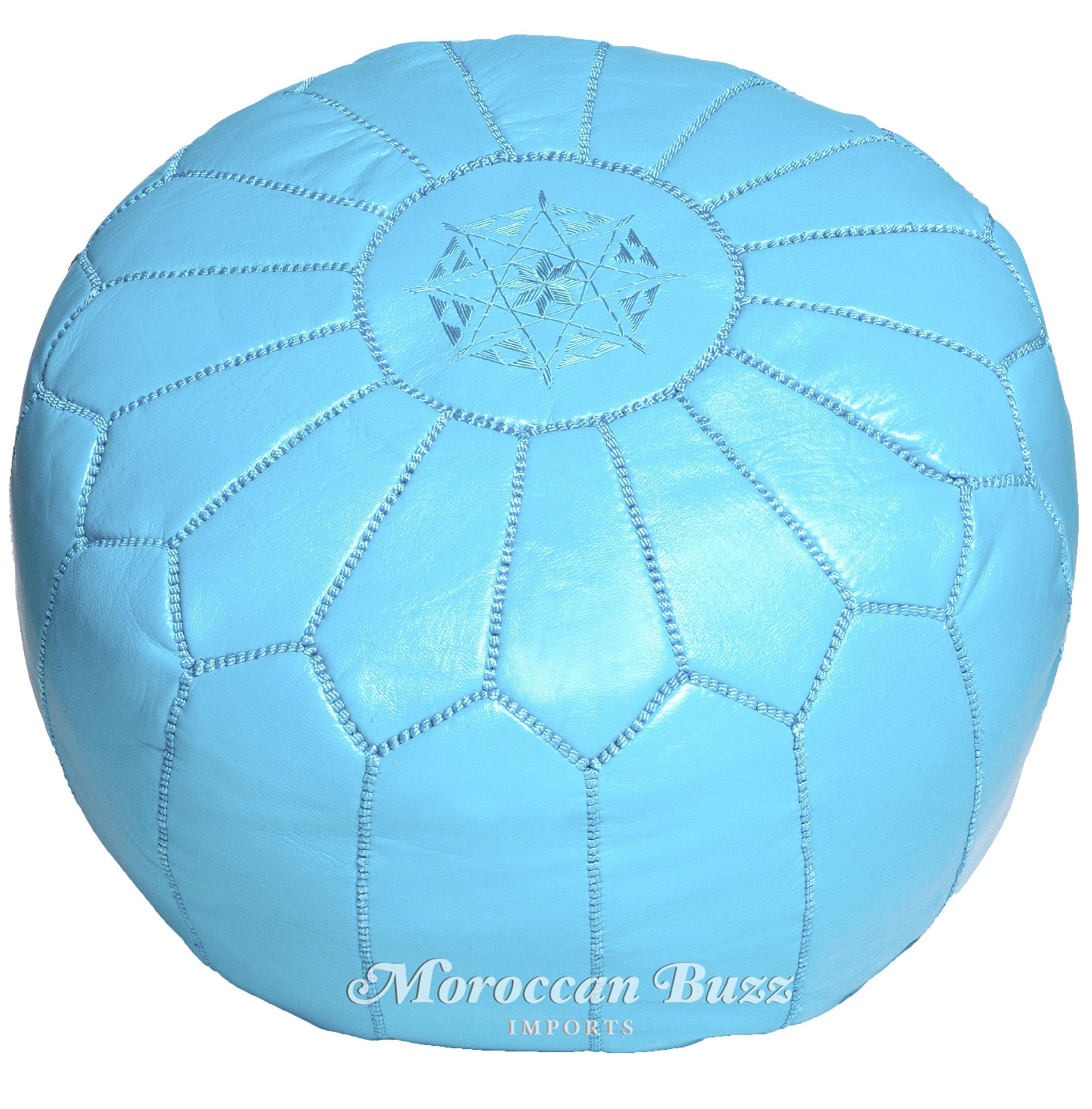 Moroccan Buzz 18-Pound Premium Stuffed Leather Pouf Ottoman, Sky Blue