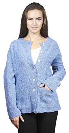 Knit Minded Gabriel Womens Long Sleeves Crew Neck Cable Knit Button Cardigan  with Front Pockets 48b53f5fb