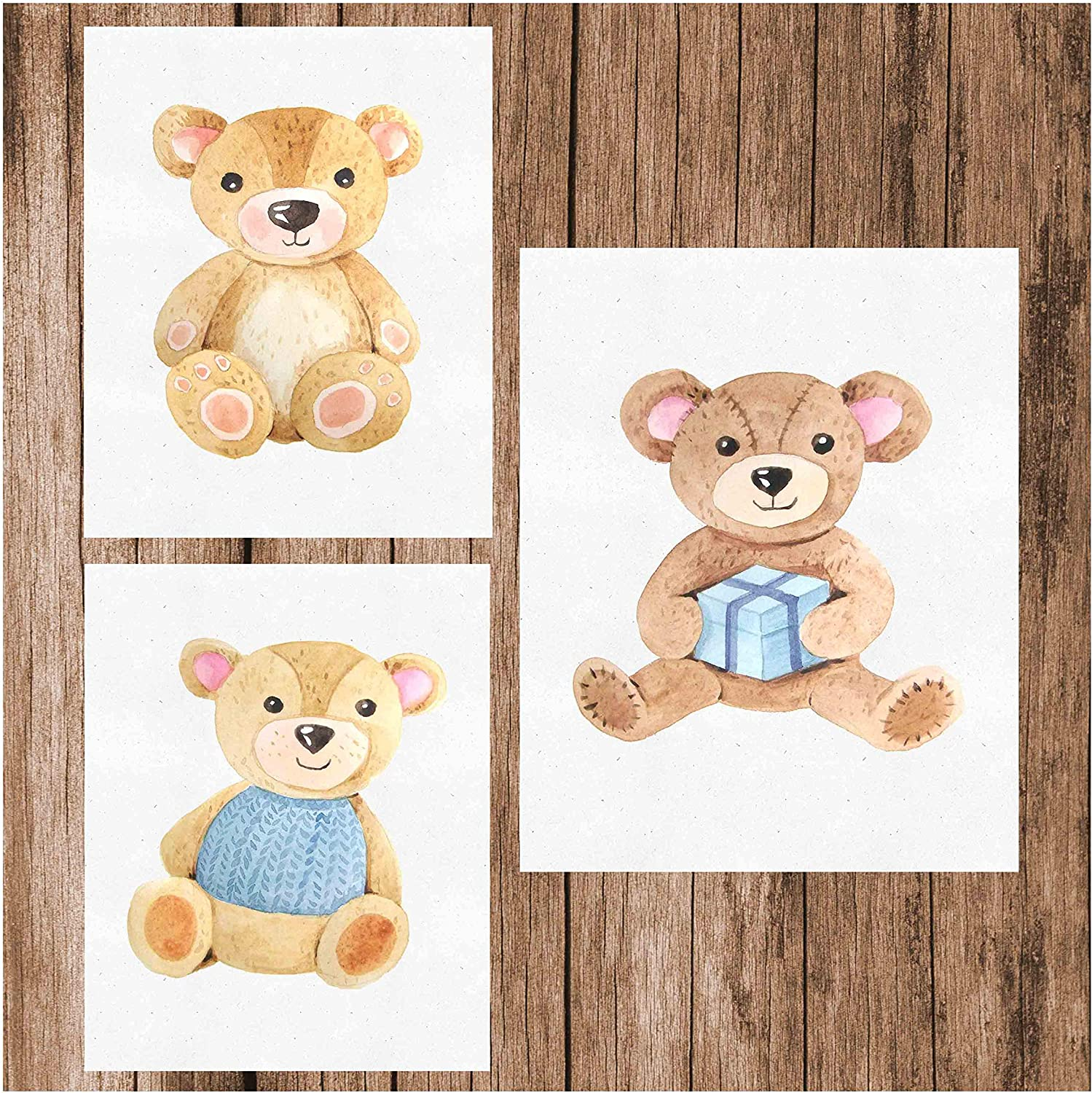"""Simply Remarkable Teddy Bear Watercolor Nursery Wall Art Print (Set of 3) - Unframed 8""""x10"""" Posters for Stunning Baby Nursery Home Decor (Blue)"""
