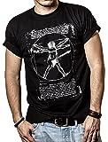 Musik T-Shirts mit Gitarre LEONARDO DA VINCI schwarz Männer S-XXXL