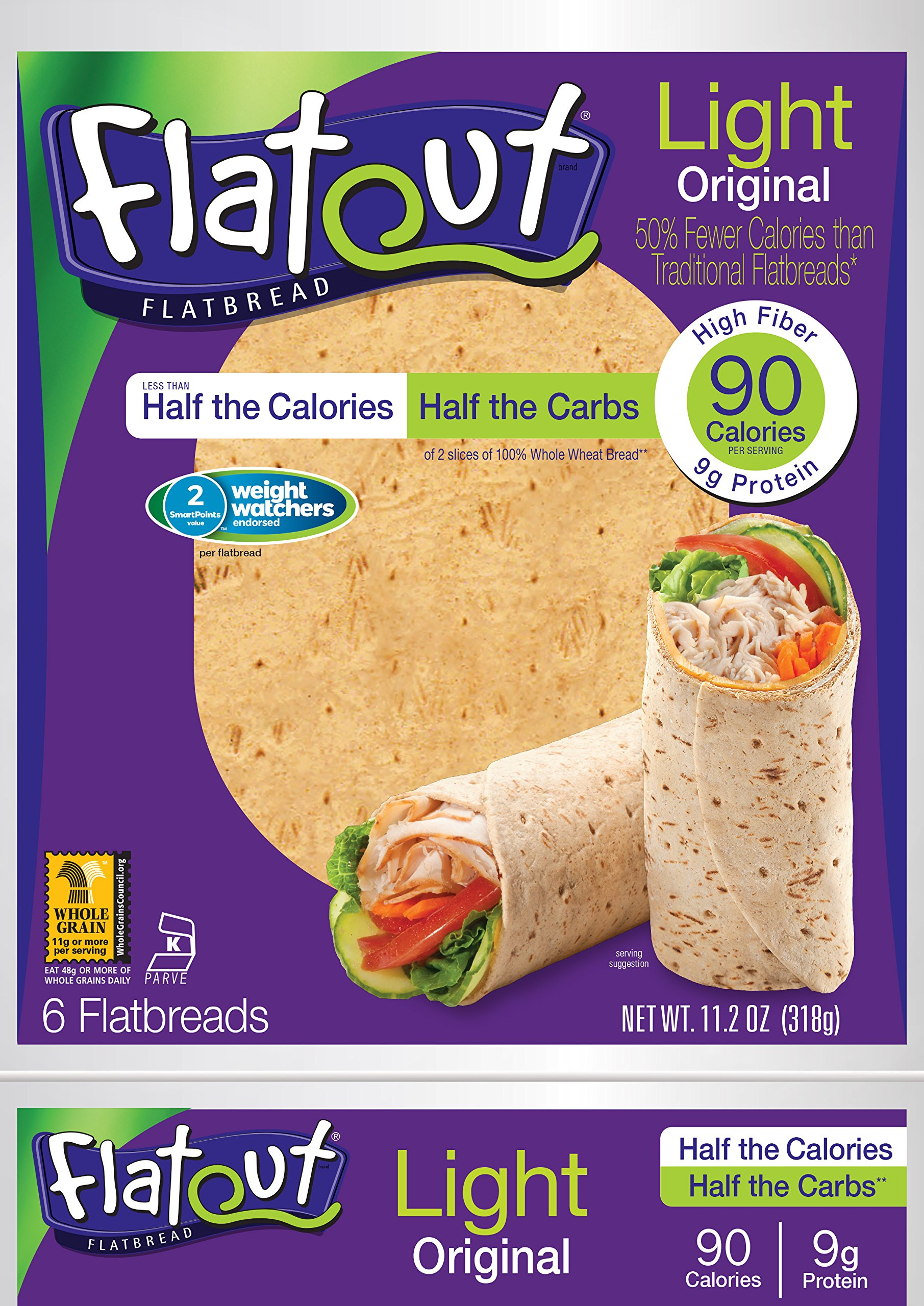 FLATOUT Flatbread Wraps - LIGHT ORIGINAL - 90 Calories - 2 WEIGHT WATCHERS SmartPoints value per flatbread (1 Pack of 6 Flatbreads)