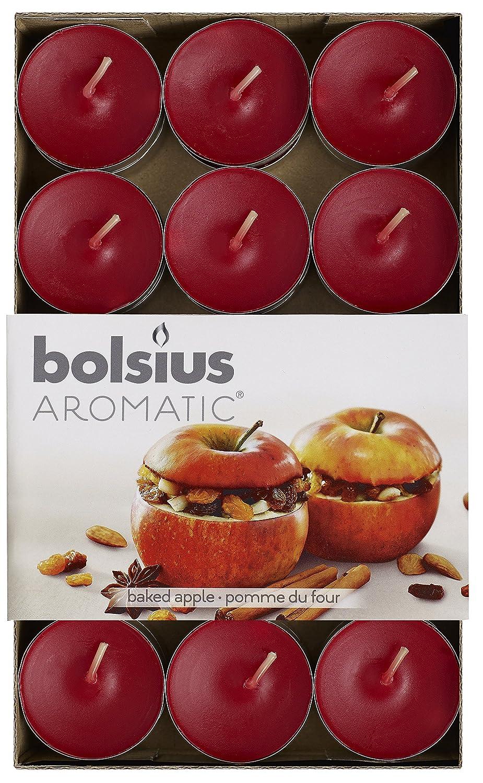 Aromatic Candele profumate Baked Apple, Cera di paraffina, Colore: Rosso, Confezione da 30 Bolsius 103626944426