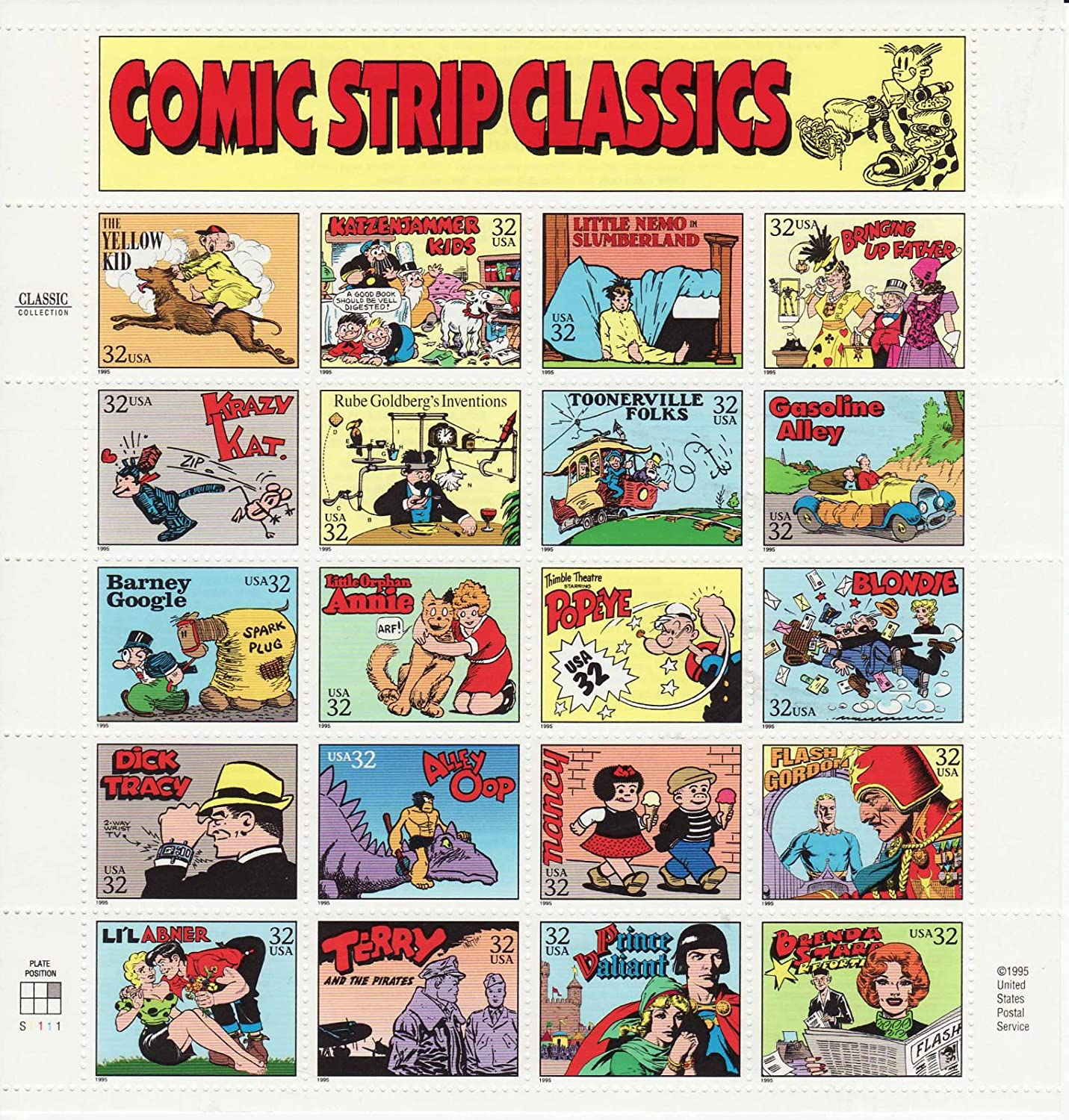 USPS Comic Strip Classics Collectible Stamp Sheet of 20 32 Stamps Scott 3000