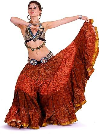 Tribal Bellydance falda, reciclado sari de seda vintage falda ...