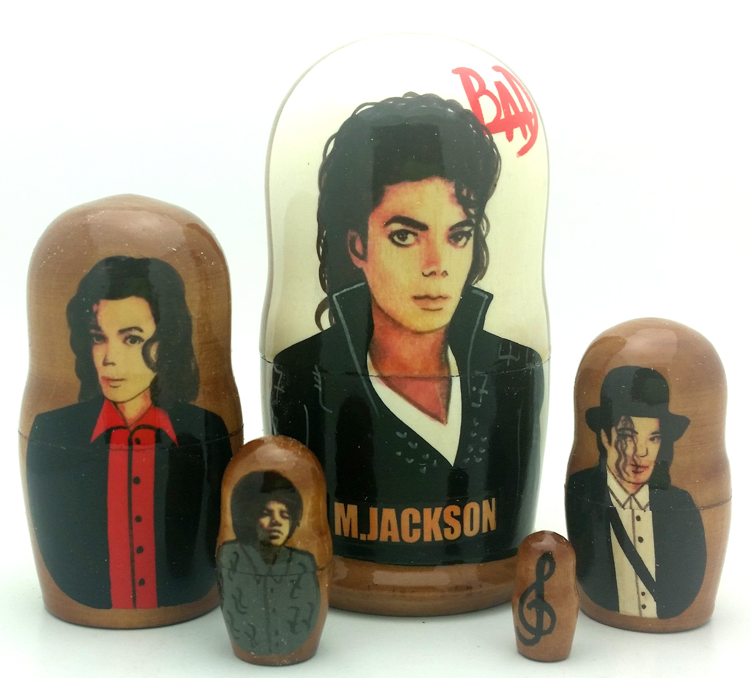 Michael Jackson BAD Russian Nesting dolls 5 piece DOLL Set 4'' Tall by BuyRussianGifts (Image #1)