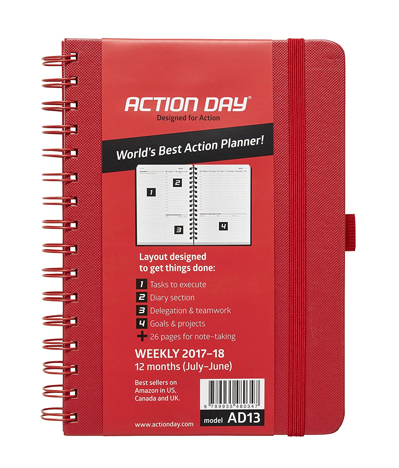 Designed to Get Things Done Action Day 2017 Organizer /& Goal Journal Appointment Weekly Daily Monthly Yearly Agenda World/´s Best Action Planner 6x8 // Wire-Bound//Black Calender