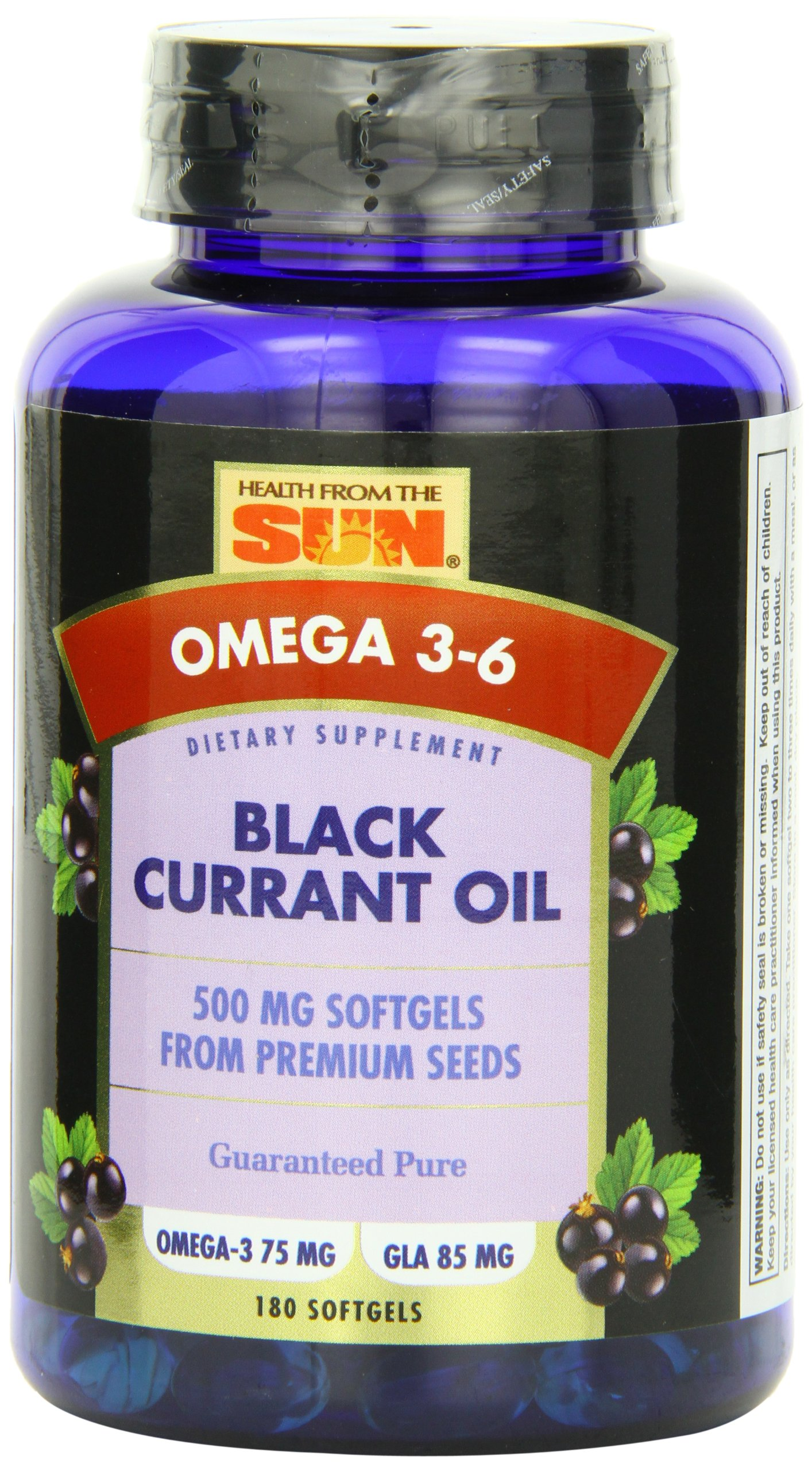 Health From The Sun Black Currant Oil Softgels, 500 mg, 180 Count