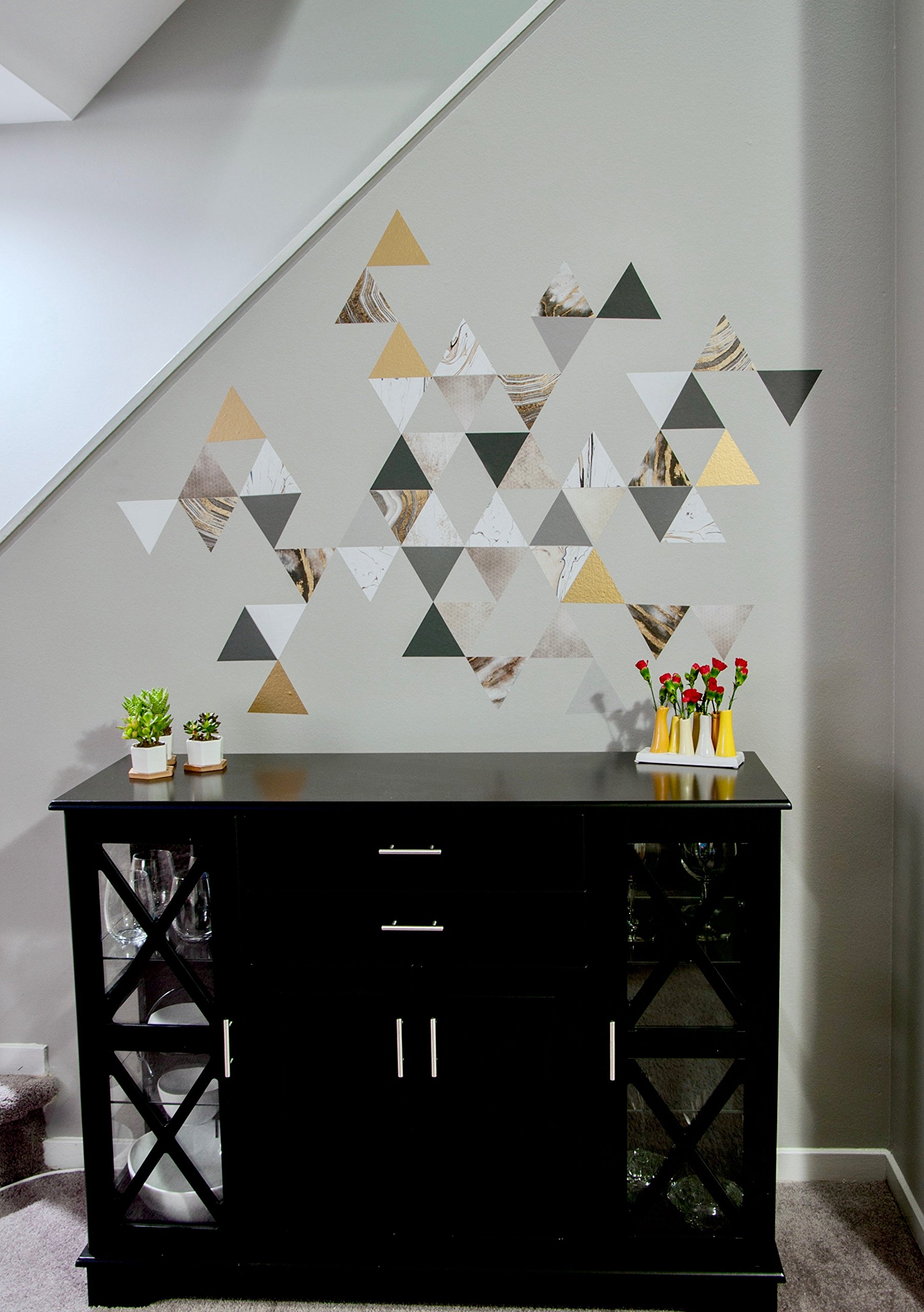 Modern Art Wall Decals, Gold, Gray, Marble, Triangles, Geometric Decals, Repositionable, Fabric Wall Decals Plus 6 Bonus Metallic Gold Triangle Vinyl Decals by Wall Dressed Up (Image #7)