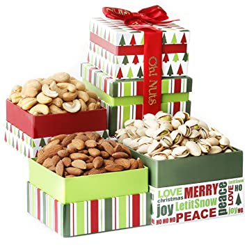 Oh! Nuts Gourmet Nuts Gift Basket Tower | Christmas Holiday Fresh Gourmet  Nut Assortment Gifts for Men,