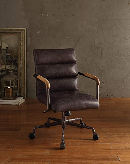 Acme Furniture 92415 Harith Top Grain Leather Office Chair in Antique Ebony - Amazon.com: Acme Furniture 92415 Harith Top Grain Leather Office