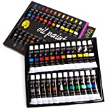 Colore Oil Paint Set - Perfect for Use On Landscape and Portrait Canvas Paintings - Great for Professional Artists, Students & Beginners - Set of 24 Richly Pigmented Oil Paint Colors