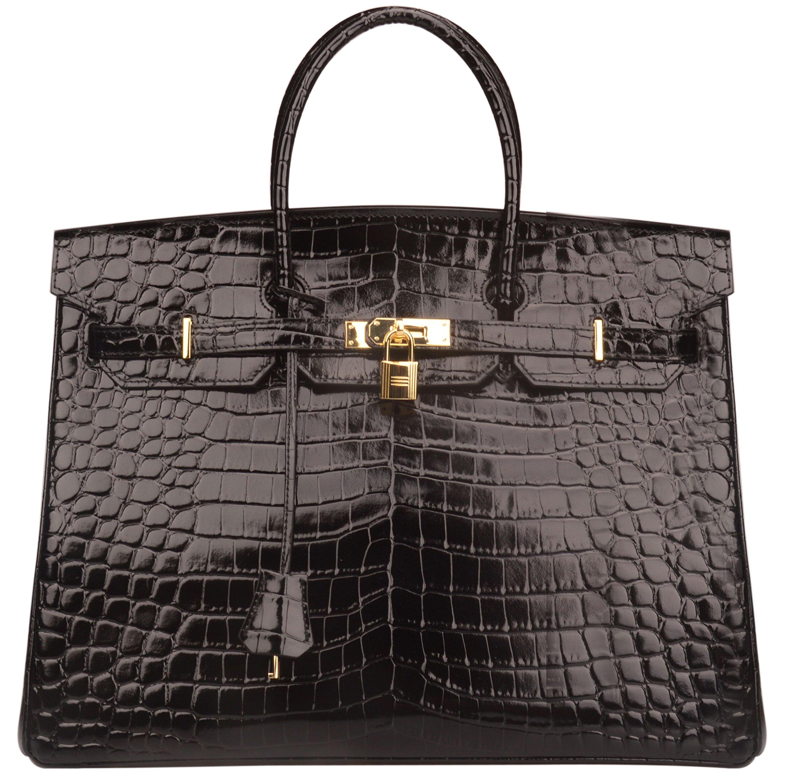 Ainifeel 40cm Oversized Patent Leather Padlock Handbag Business Purse (40cm OVERSIZE, Black)
