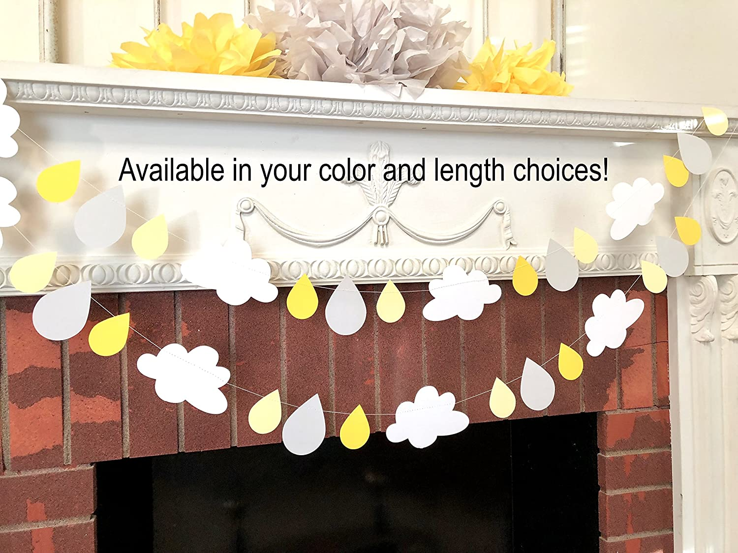 Baby Sprinkle decorations - Yellow Raindrop garland Decoration - 6 or 10ft Clouds and raindrops banner - Baby shower garland - Your color choice